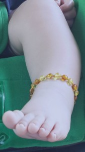 Baltic amber anklet for baby